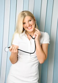 Free Beautiful Doctor With A Stethoscope Royalty Free Stock Photography - 9033697