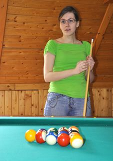 Free Girl With Billard Stick Stock Image - 9034991