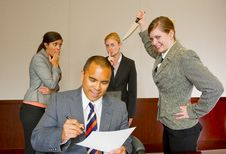 Free Team Member Stabbing The Manager In The Back Royalty Free Stock Photos - 9035718