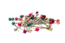Multi-coloured Sewing Pins Stock Image