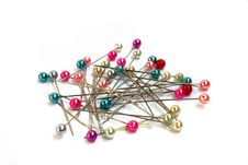 Multi-coloured Sewing Pins Royalty Free Stock Photos