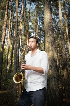 Free Saxy Player Men Stock Photography - 9036052