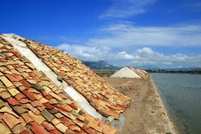 Sea Salt Heaps Covered Terracotta, Trapani Royalty Free Stock Photography
