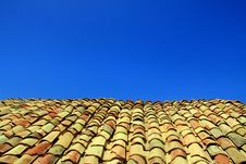Terracotta Roof On Blue Summer Sky Stock Images