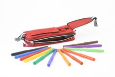Pencil Case With Felt-tip Pens Royalty Free Stock Image