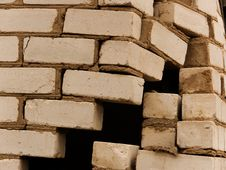 Free Destruction Of A Wall Of The House From A Brick Stock Image - 9039771