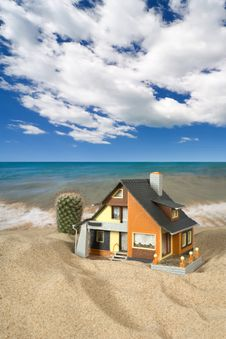 Free House On Sand. Stock Images - 9039884
