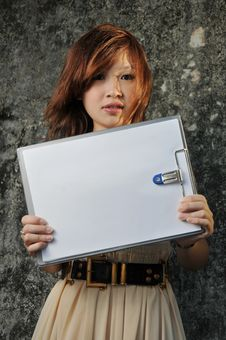Free Beautiful Asian Woman With Clipboard Stock Photos - 9039983