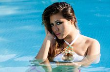 Free Young Woman In The Swimming Pool Stock Image - 90356531