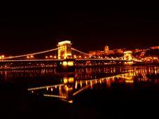 Free Illuminated Bridge Over River At Night Royalty Free Stock Photos - 90357468