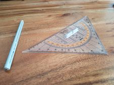 Free Compass With Triangular Protractor Royalty Free Stock Photography - 90358637
