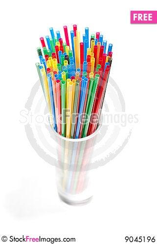 Many cocktail straws Stock Photo