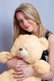 Free Blonde With Teddy-bear Royalty Free Stock Images - 9040769
