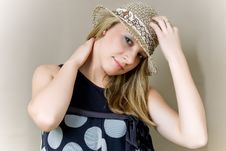 Free Blonde In Straw Hat Royalty Free Stock Image - 9040816