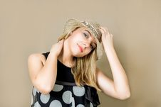 Free Blonde In Straw Hat Smiling Stock Photography - 9040832