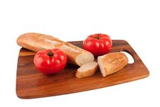 Free Two Tomatoes And Slices Of Baguette Royalty Free Stock Photography - 9041557