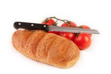 Free Bread, Knife And Bunch Of Tomatoes Stock Photo - 9041600