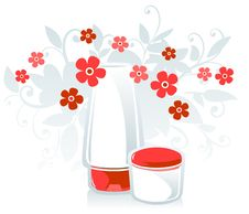 Free Face Cream And Flowers Stock Photo - 9042070