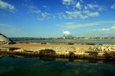 Trapani, Salt Bassins And Mills Royalty Free Stock Images