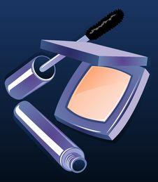 Compact Powder And Mascara Stock Photography