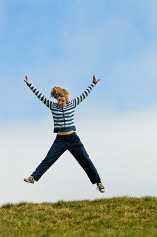 Free Girl Jumping For Joy Royalty Free Stock Photos - 9043258