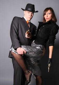 Free Flirting Gangsters Royalty Free Stock Photos - 9043638