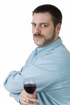 Free Young Man With Glass Of Red Wine Royalty Free Stock Photo - 9045275