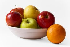 Free Apples On A Plate And An Orange Stock Photos - 9045783