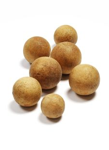 Group Of Old Wooden Balls Stock Photo
