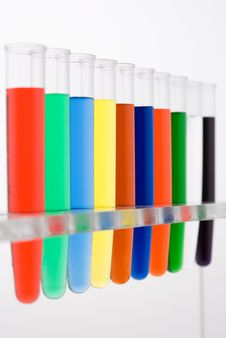Test Tube Colored On White Background Royalty Free Stock Photo