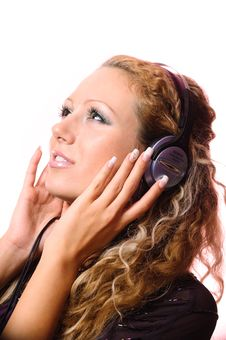 The Girl Listens To Music Stock Photos