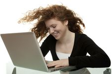 Red Haired Teenager With Laptop Stock Photos