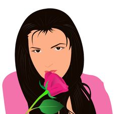 Free The Girl With A Rose Stock Images - 9048544