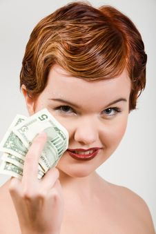 Free Red-head Woman With Dollar Strasses Royalty Free Stock Image - 9049526