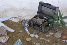 Free Treasure Chest On Beach And Coins Beside It Stock Photo - 90428540