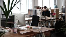 Free Retro Office With Tables And A Plant Stock Photos - 90491533