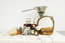 Free Brown Woven Basket Beside Clear Bottle On White Table Clothe Stock Image - 90491951