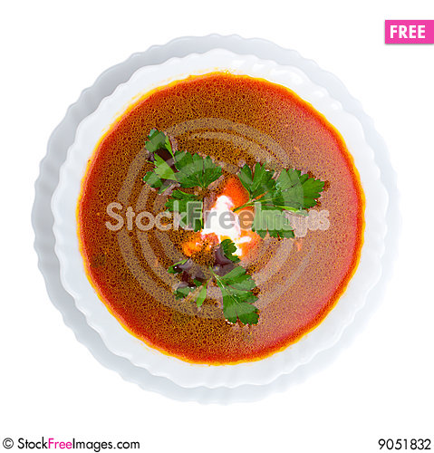 Soup from beet with sour cream view from above Stock Photo