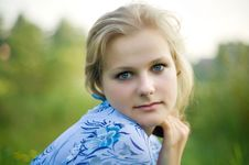Free Beautiful Blond Haired Blue Eyed Stock Image - 9050051