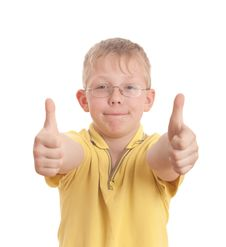 Free Teenager Show Thumb Up Sign On Two Hands Stock Image - 9050201