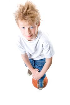 Free The Boy With A Basketball Ball Stock Photography - 9050472