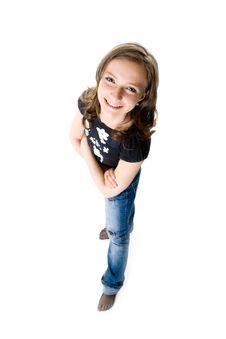 Free The Girl Looks Upwards Stock Image - 9050561