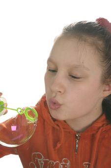Free Girl Playing With Bubbles Royalty Free Stock Photo - 9050815