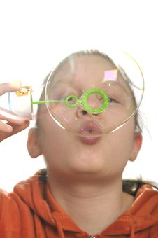 Free Girl Playing With Bubbles Stock Photo - 9050860