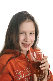 Free Reading Girl With Glass Of Juice Royalty Free Stock Photos - 9050868