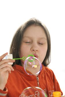 Free Girl Playing With Bubbles Royalty Free Stock Photography - 9050887
