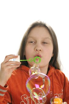 Free Girl Playing With Bubbles Royalty Free Stock Photos - 9050898