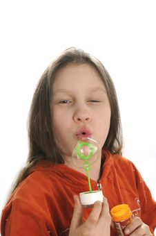 Free Girl Playing With Bubbles Stock Photography - 9050942