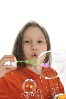 Free Girl Playing With Bubbles Royalty Free Stock Image - 9050966