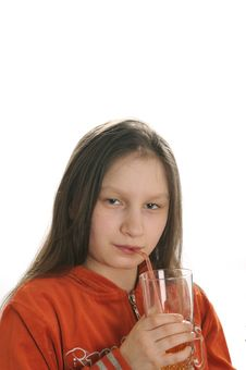Free Reading Girl With Glass Of Juice Royalty Free Stock Photography - 9051007